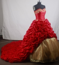 Romantic Ball Gown Strapless Floor-length Red Vintage Quinceanera Dress LZ426066