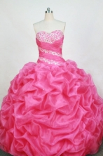 Romantic Ball Gown Sweetheart Floor-length Rose Pink Organza Beading Quinceanera dress Style FA-L-377
