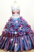 Romantic Ball gown Strap Floor-length Organza Purple Quinceanera Dresses Style FA-W-173