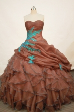 Romantic Ball gown Strapless Floor-length Organza Rust Red Quinceanera Dresses Style FA-W-164