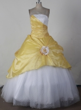 Simple Ball Gown Strapless Floor-length Yellow Vintage Quincenera Dresses TD260038