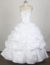 Simple Ball Gown Sweetheart Floor-length White Vintage Quincenera Dresses TD260062