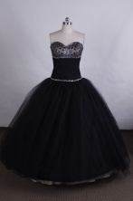 Simple Ball gown Sweetheart Floor-length Quinceanera Dresses  with Beading Style FA-Z-008