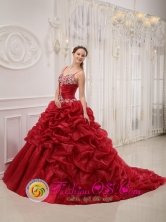 Spaghetti Straps Brand New Wine Red Quinceanera Dress Beading Court Train Organza Ball Gown For 2013 Florida  Argentina Winter Style QDZY335FOR