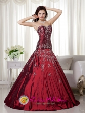 Spring Gorgeous Wine Red A-line Sweetheart Floor-length Taffeta Beading and Embroidery Prom Dress In Wilde  Argentina Style MLXN100FOR