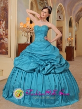 Sweet 16 Teal Quinceanera Dress With Pick-ups Sweetheart Neckline Taffeta in Formal Evening In San Miguel de Tucuman Argentina Style QDML079FOR