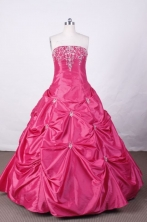 Sweet Ball Gown Strapless FLoor-Length Hot Pink Appliques and Beading Quinceanera Dresses Style L42414