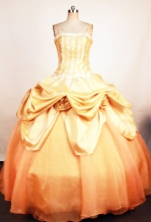 Sweet Ball Gown Straps Floor-Length Gold Beading and Appliques Quinceanera Dresses Style FA-S-380