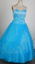 The Most Popular Ball Gown Strapless Floor-length Baby Blue Vintage Quinceanera Dress X0426035
