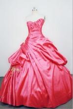 Unique Ball gown Strapless Floor-length Taffeta RedQuinceanera Dresses Style FA-W-063