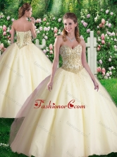 Vintage Ball Gown Sweetheart Quinceanera Dresses in Champagne SJQDDT344002FOR