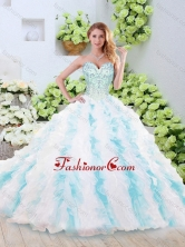 Vintage Brush Train Quinceanera Dresses with Beading and Ruffles SJQDDT245002FOR