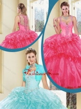 Vintage  Straps Beading Quinceanera Dresses with Ruffles SJQDDT236002-1FOR