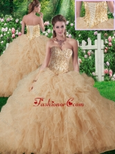 Vintage Sweetheart Champagne Quinceanera Gowns with Beading and Ruffles SJQDDT338002FOR