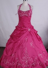 Wonderful Ball gown Halter top Floor-length  Quinceanera Dresses with Embroidery Style FA-Z-004