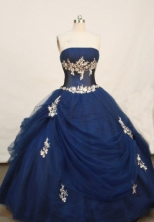 Wonderful Ball gown Strapless Floor-length Navy Blue Quinceanera Dresses Style FA-W-203