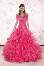 2015 Elegant Sweetheart Hot Pink Quinceanera Dresses with Ruffles XFNAO305AFOR