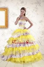 2015 Printed and Ruffles Multi Color Quinceanera Dresses XFNAO754FOR