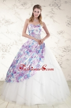 2015 Unique Puffy Multi Color Quinceanera Dresses with Beading XFNAO332FOR