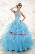 Aqua Blue Ball Gown Sweetheart Beading Sweet 16 Dresses XFNAOA45FOR