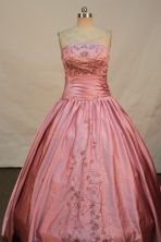 Beautiful A-line Strapless Floor-length Quinceanera Dresses Embroidery with Beading Style FA-Y-0073