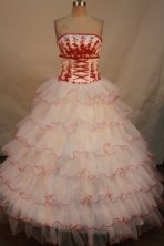 Beautiful Ball gown Strapless Floor-length Quinceanera Dresses Appliques with Sequins Style FA-Y-001