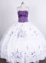 Beautiful Ball gown Strapless Floor-length Quinceanera Dresses Embroidery with Beading Style FA-Z-0015