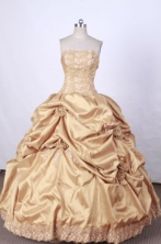 Brand New Ball Gown Strapless FLoor-Length Orange Appliques Quinceanera Dresses Style FA-S-080