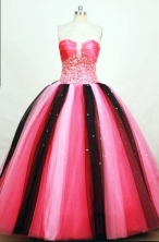 Brand New Ball Gown Strapless Floor-length Tulle Beading Quinceanera Dresses Style FA-C-016