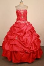Brand new Ball Gown Strapless Floor-Length Red Quinceanera Dresses Style FA-S-L042408