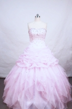 Brand new ball gown strapless floor-length  beading baby pink organza quinceanera dress FA-X-46