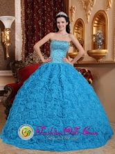Camaguey Cuba 2013  Gorgeous Blue Sweet Sweet sixteen Dress Fabric With Rolling Flowers Ball Gown Strapless Beading Ball Gown Style QDZY576FOR