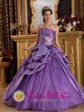 Camaguey Cuba Customize Lavender Appliques sweet sixteen  Dress With Hand flower and Pick-ups Decorate For 2013 Style QDML077FOR