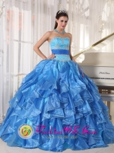 Cardenas Cuba Lovely Sweet 16 Blue Organza sweet sixteen Dress With Strapless Appliques and Paillette tiered skirt Style PDZY497FOR