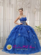 Contramaestre Cuba Sweetheart Organza For 2013 Luxurious Royal Blue Sweet sixteen Dress With Beading Style QDZY327FOR
