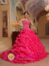 Cuenca  Ecuador 2013 Customer Made Spaghetti Straps Hot Pink Embroidery Decorate Sweet sixteen Dress Style QDZY343FOR