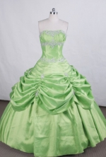 Elegant Ball gown Strapless Floor-length Quinceanera Dresses Appliques with Beading Style FA-Z-0036