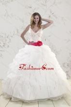 Elegant Halter Belt Beading White 2015 Quinceanera Dresses XFNAO222FOR