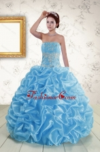 Elegant Strapless Beading and Pick Ups 2015 Quinceanera Dresses in Blue XFNAO5820FOR