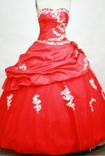 Exclusive Ball Gown Sweetheart Neck Floor-lengthTaffeta Red Quinceanera Dresses Style FA-C-015