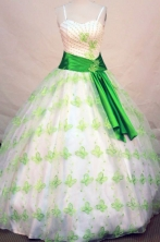 Exclusive ball gown straps sweetheart-neck floor-length green sash quinceanera dress FA-X-036