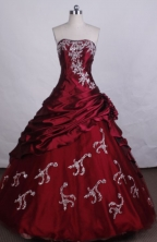 Exquisite Ball Gown Strapless FLoor-Length Red Beading And Appliques Quinceanera Dresses Style FA-S-105