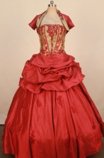 Exquisite Ball Gown Strapless Floor-Length Red Appliques Quinceanera Dresses Style FA-S-282