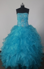 Fashionable A-line Strapless Floor-length BlueQuinceanera Dress Style X042606