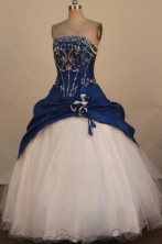 Fashionable Ball Gown Strapless Floor-Length Blue Quinceanera Dresses Style L042416