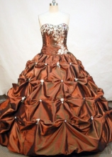Formal Ball Gown Strapless Floor-length Taffeta Brown Quinceanera Dresses Style FA-C-003