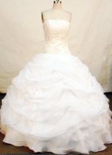Gorgeous Ball Gown Strapless Floor-length Organza White Quinceanera Dresses Style FA-C-018