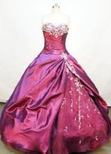 Gorgeous Ball Gown Sweetheart Neck Floor-length Taffeta Burgundy Quinceanera Dresses Style FA-C-006