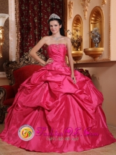 Guantanamo Cuba 2013 Fashionable Hot Pink Ball Gown Strapless Sweet sixteen Dresses With Pick-ups and Ruch Style QDZY585FOR