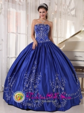 Havana Cuba Blue Ball Gown Strapless Floor-length Satin Embroidery sweet sixteen dress Style PDZY418FOR
